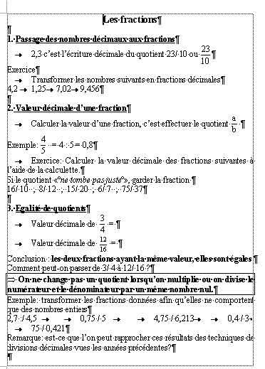 leçons les fractions